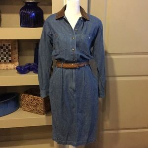 Talbots Denim Dress With Faux Suede Collar